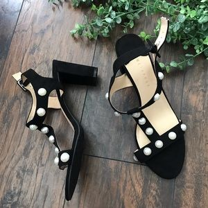 Metaphor black and pearl heels strappy studded